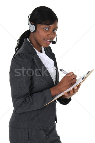 çekici iş kadını kulaklık yazı Stok fotoğraf © RandallReedPhoto