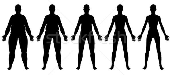 Obèse maigre Homme silhouette vue Photo stock © RandallReedPhoto