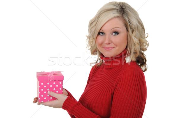 若い女性 ピンク ギフトボックス バレンタインデー ストックフォト © RandallReedPhoto