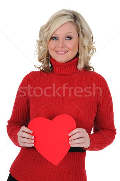 Genç kadın kâğıt kalp sevgililer günü Stok fotoğraf © RandallReedPhoto