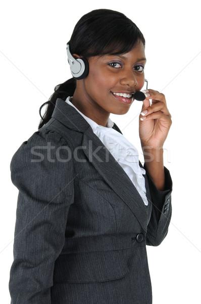 魅力的な ビジネス女性 ヘッド 着用 孤立した 固体 ストックフォト © RandallReedPhoto