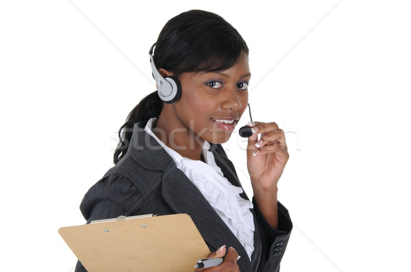 魅力的な ビジネス女性 ヘッド クリップボード 孤立した 固体 ストックフォト © RandallReedPhoto