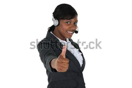 魅力的な ビジネス女性 ヘッド 着用 と ストックフォト © RandallReedPhoto