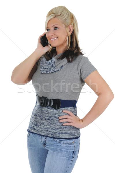 魅力のある女性 スマートフォン 魅力的な 小さな 会話 ストックフォト © RandallReedPhoto