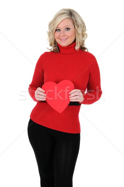若い女性 紙 中心 バレンタインデー ストックフォト © RandallReedPhoto