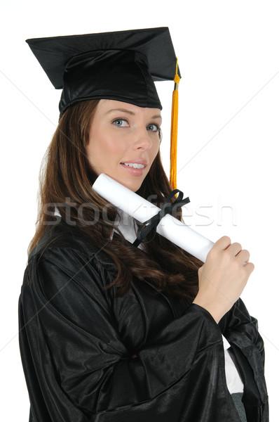 Feminino pós-graduação mulher atraente preto boné Foto stock © RandallReedPhoto