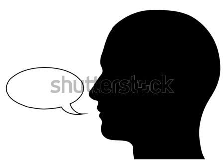Masculino cabeça silhueta balão de fala gráfico isolado Foto stock © RandallReedPhoto