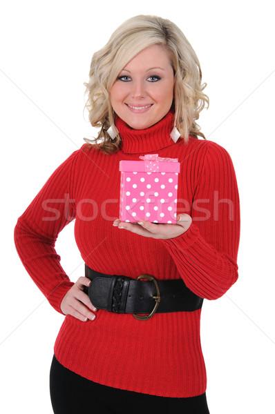 Mulher jovem rosa caixa de presente encantador dia dos namorados Foto stock © RandallReedPhoto