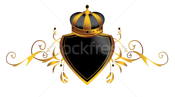 Oro corona immagine decorativo scudo isolato Foto d'archivio © randomway