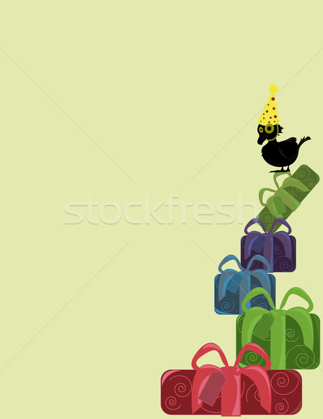 Bird with present stack Stock photo © randomway