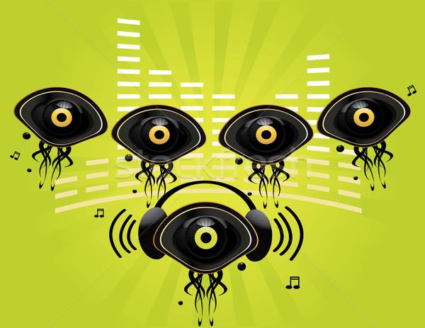 Occhi gruppo carattere musica verde Foto d'archivio © randomway