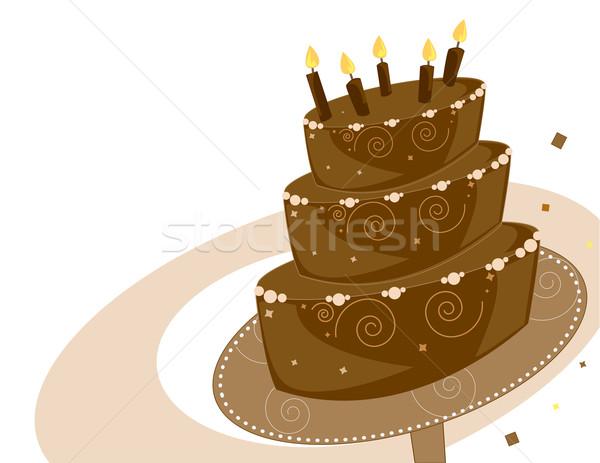 Cioccolato torta di compleanno strato alimentare sfondo dessert Foto d'archivio © randomway