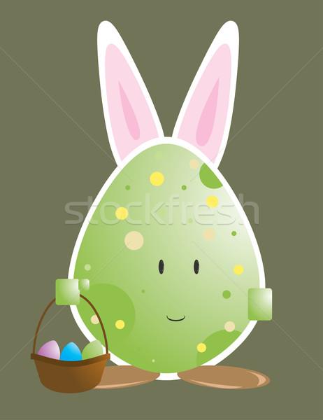 Easter egg carattere coniglio orecchie isolato Pasqua Foto d'archivio © randomway