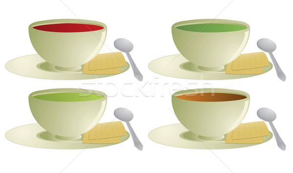 Zuppa cucchiaio isolato bianco Foto d'archivio © randomway