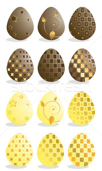 Easter eggs giallo cioccolato isolato bianco Pasqua Foto d'archivio © randomway