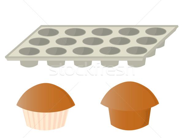 Muffins pan vuota focaccina cottura bianco Foto d'archivio © randomway