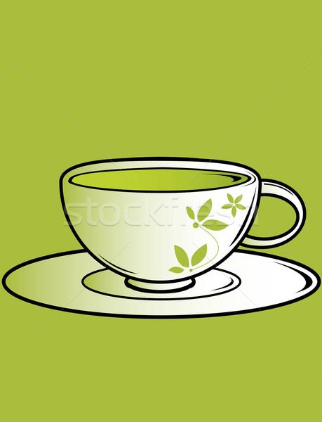 Cup tè piattino verde bere Foto d'archivio © randomway