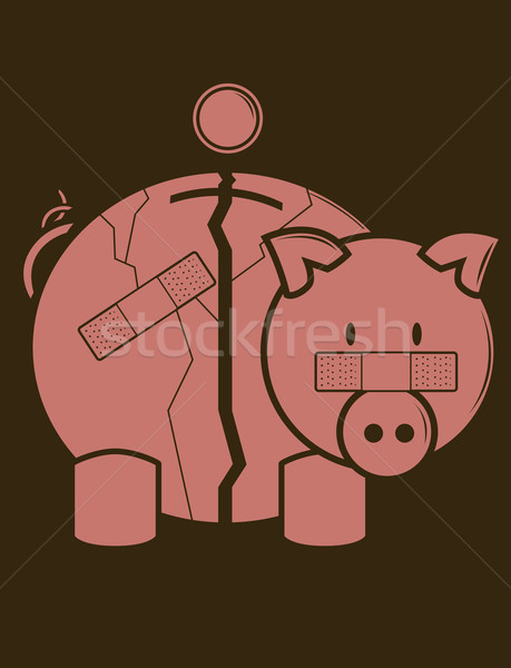 Fractured Piggy Bank Stock photo © randomway