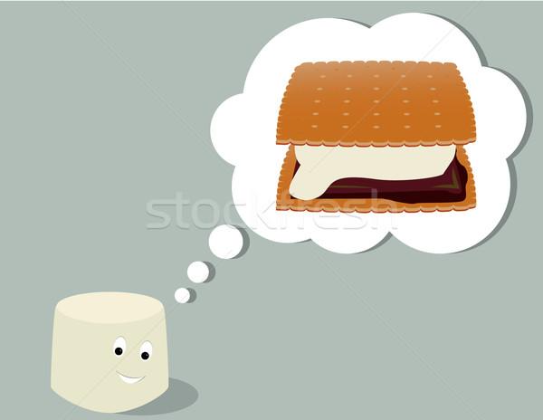 Marshmallow pensare sorridere tutti grigio alimentare Foto d'archivio © randomway