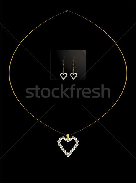 Elegante cuore collana set oro diamante Foto d'archivio © randomway