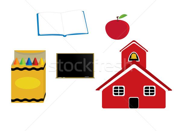 Scuola grafica mela pastelli lavagna libro aperto Foto d'archivio © randomway