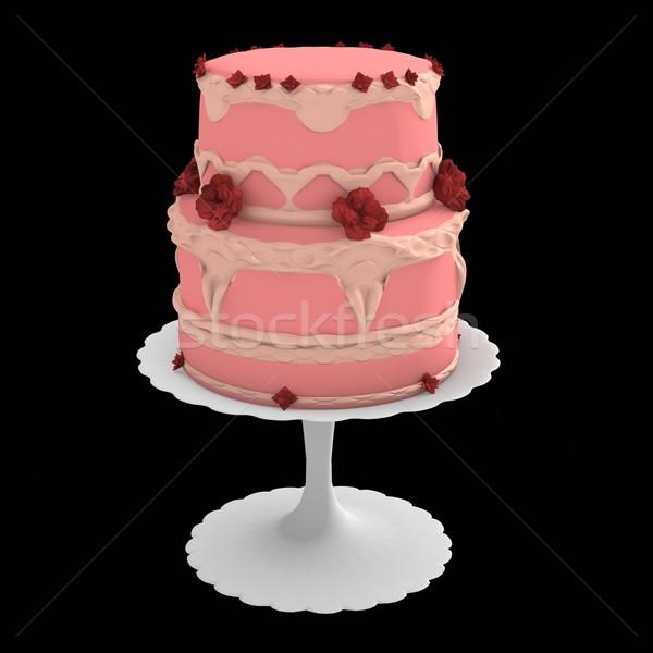 ピンク 2 層 ケーキ 3D コンピュータ ストックフォト © randomway