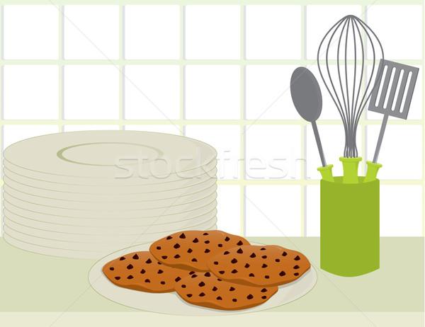 Cookies counter piatto cioccolato chip Foto d'archivio © randomway