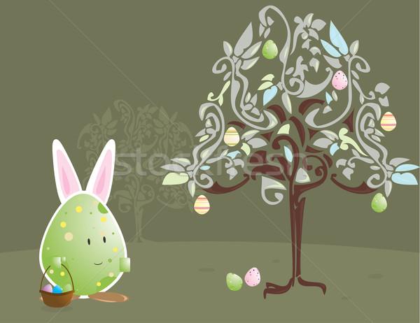 Easter egg carattere coniglio orecchie uovo albero Foto d'archivio © randomway