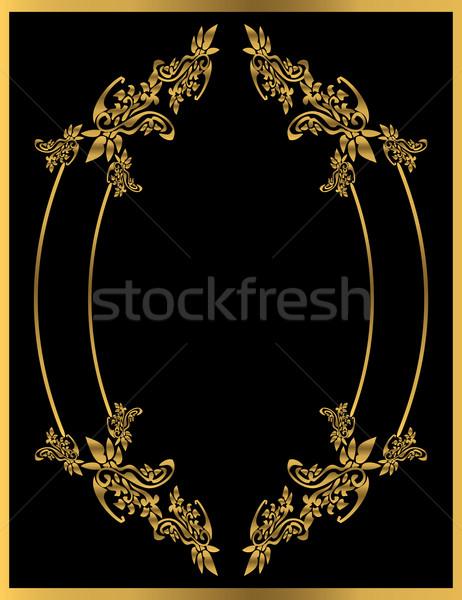 Oro floreale frame nero design sfondo Foto d'archivio © randomway
