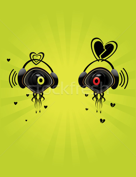 Occhi verde cuffie nero cartoon Foto d'archivio © randomway