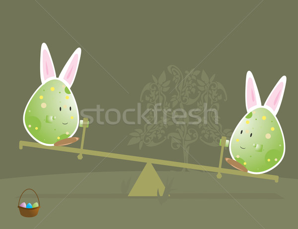 Easter egg characters with bunny ears 2 Stock photo © randomway