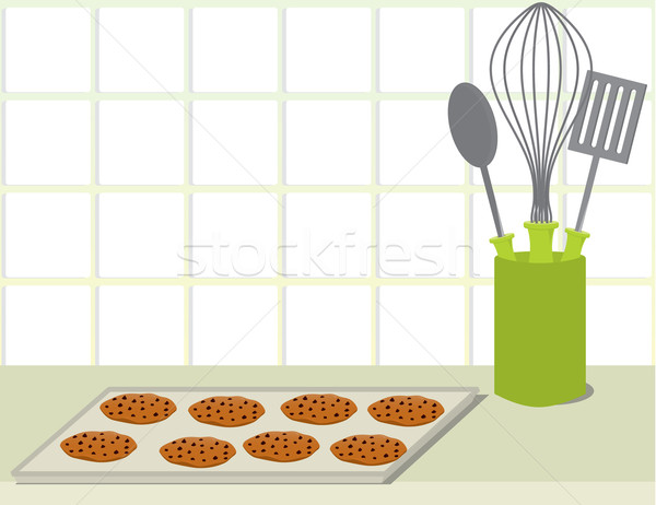Cookie vassoio counter cioccolato chip cookies Foto d'archivio © randomway