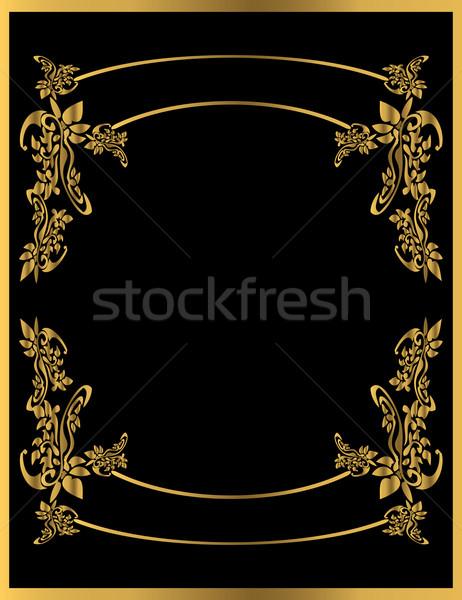 Oro floreale frame nero antichi Foto d'archivio © randomway