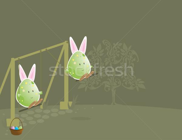 Easter egg coniglio orecchie swing set Foto d'archivio © randomway