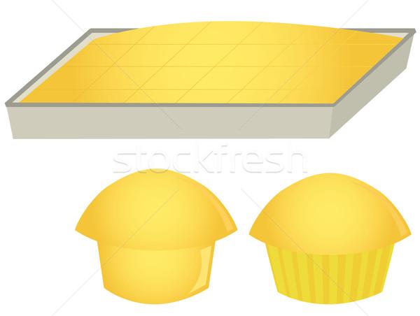 Muffins pan isolato bianco alimentare Foto d'archivio © randomway