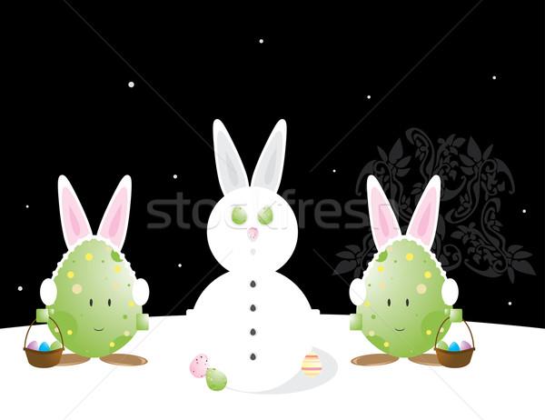 Easter egg coniglio orecchie neve scena Foto d'archivio © randomway