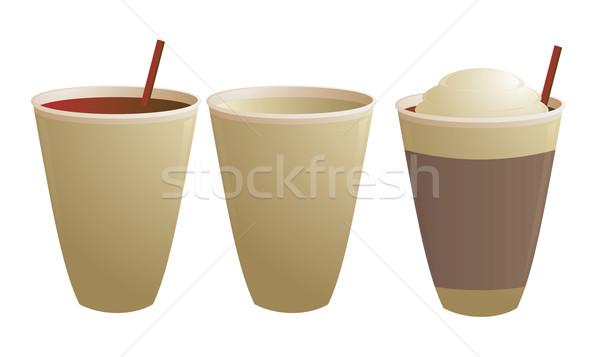 Jetable tasses de café vide paille isolé blanche Photo stock © randomway