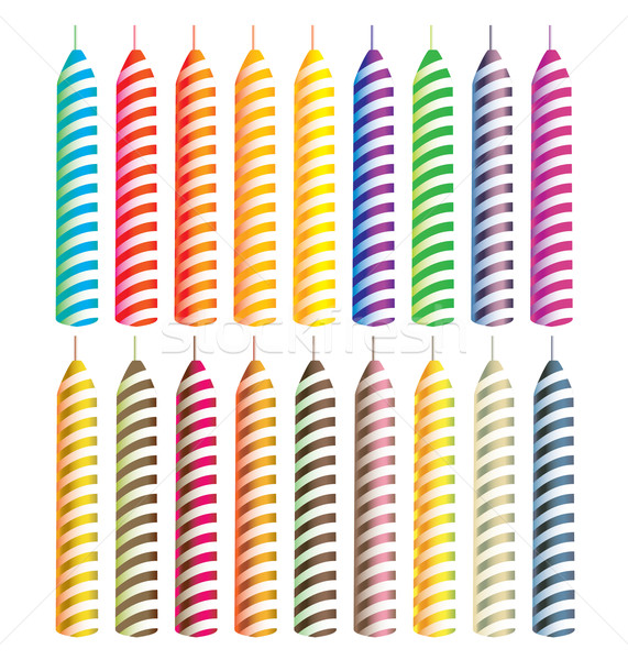 Strisce candele luminoso colore isolato bianco Foto d'archivio © randomway