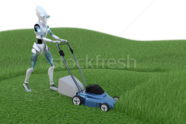 Stockfoto: Robot · grasmaaier · gras · model · toekomst · machine