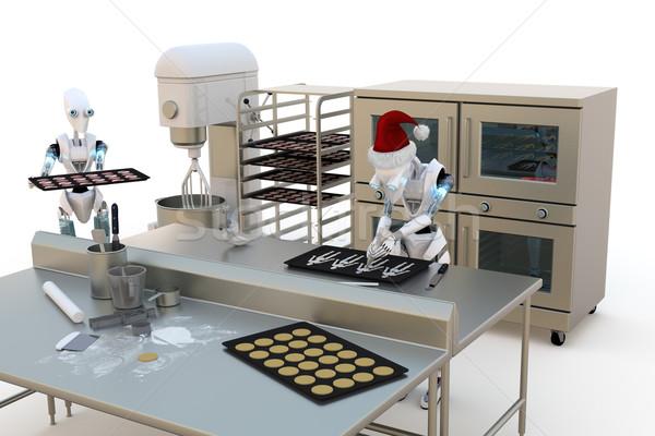 Robots vakantie cookies 3d render keuken Stockfoto © raptorcaptor