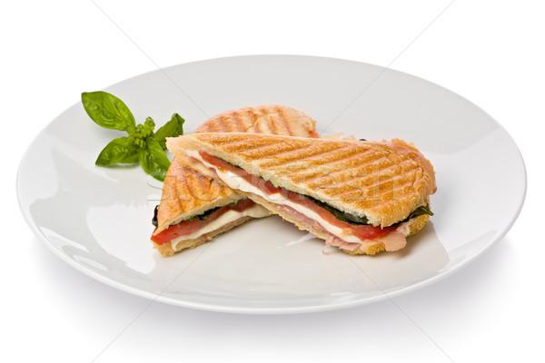 Панини сэндвич прошутто моцарелла сыра базилик Сток-фото © raptorcaptor