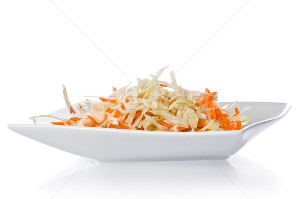 Káposztasaláta egyszerű fehér tányér étel egészséges Stock fotó © raptorcaptor