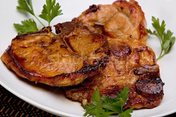 Stok fotoğraf: Domuz · eti · beyaz · plaka · yağ · akşam · yemeği
