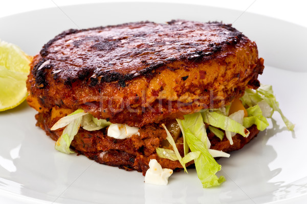 Sandviç Meksika chorizo patates marul dizi Stok fotoğraf © raptorcaptor