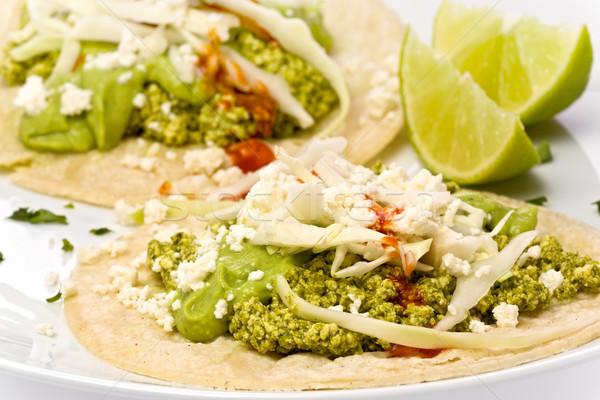 Vejetaryen yeşil chorizo tacos iki soya peyniri Stok fotoğraf © raptorcaptor