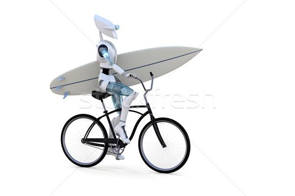 Robot fiets surfboard paardrijden witte Stockfoto © raptorcaptor