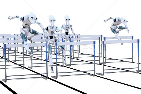 Stockfoto: Robots · springen · horden · verscheidene · race
