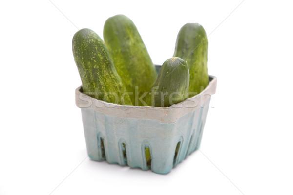 Cetrioli basket bianco alimentare frutta verde Foto d'archivio © raptorcaptor