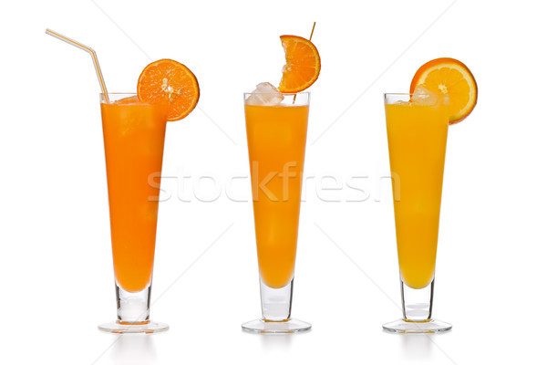 Stok fotoğraf: Portakal · suyu · üç · gözlük · taze · farklı · portakal