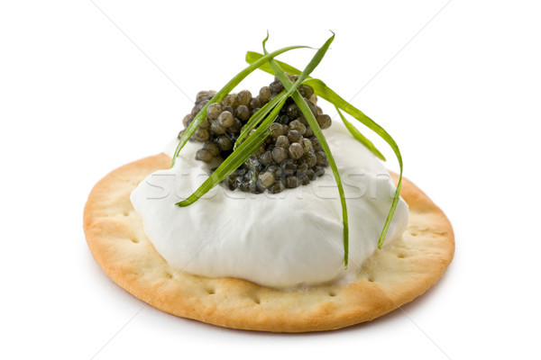 Canapes with Caviar and Creme Fraiche Stock photo © raptorcaptor